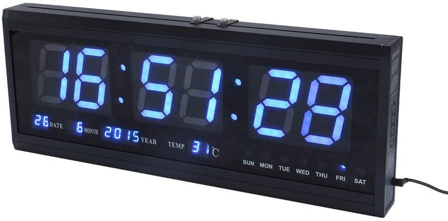 Yosoo Digital Alarm Clock, 12/24 Hours Large Display LED Digital Clock with Wall Calendar &Temperature for Home Elderly Impaired Vision