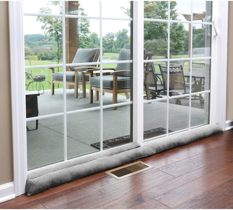 HOME DISTRICT Sliding Door Draft-Dodger - Weighted Patio Door Breeze, Bug and Noise Guard Stopper Blocker - Approx. 71