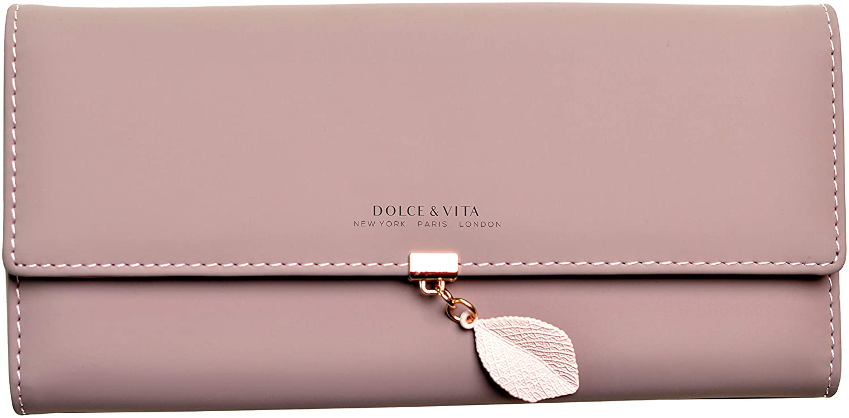 Wallets for Women Large Wallet Leather Phone Wallet Ladies Girls Cute Long Slim Trifold Soft Purse Unique Original (Dark Pink)