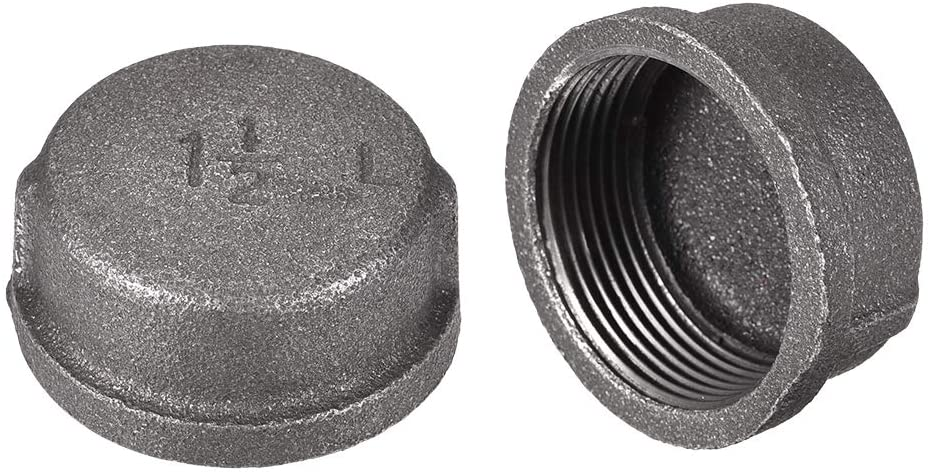 uxcell 1-1/2-Inch Pipe Cap 2pcs PT1-1/2 Female Pipe Fitting Carbon Steel Round Compression Stop Valve Connector