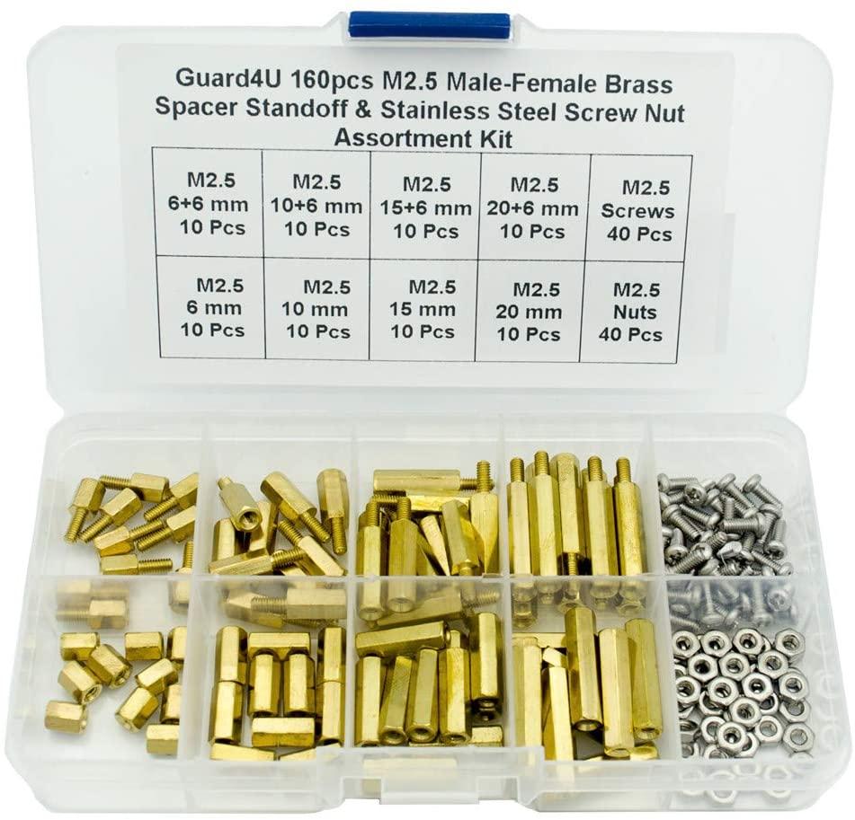 Guard4U 160pcs M2.5 Male-Female Brass Spacer Standoff & Stainless Steel Screw Nut Assortment Kit