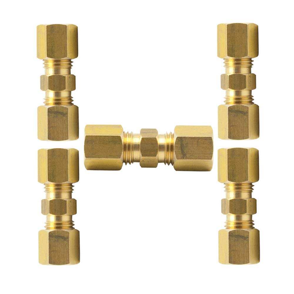 Vis Brass Compression Tube Fitting, Reducing Union, 3/8