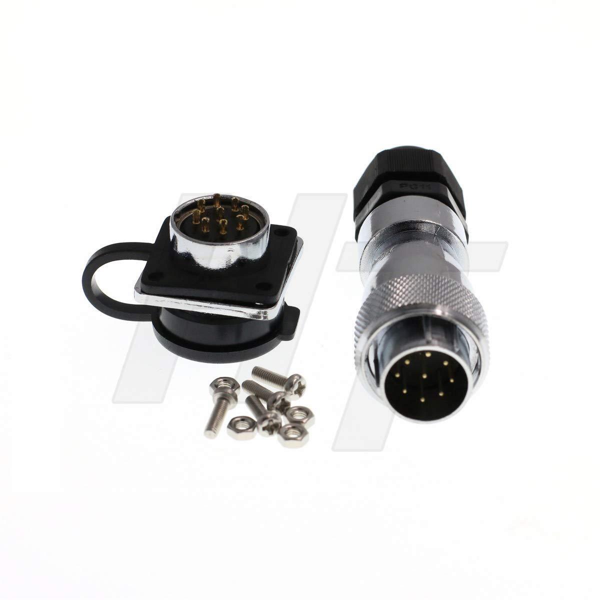 HangTon HF20 Circular Plug Panel Chassis Socket Metal Industrial Power Connector PG11 (9 pin 500V 5A)