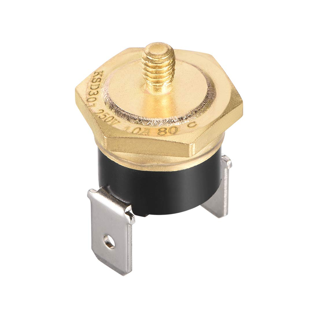 uxcell KSD301 Thermostat, Temperature Control Switch 80°C Copper M4 Normally Closed N.C 10A