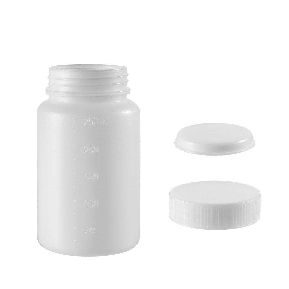 uxcell Plastic Lab Chemical Reagent Bottle 250ml/8.5oz Wide Mouth Sample Sealing Liquid Storage Container