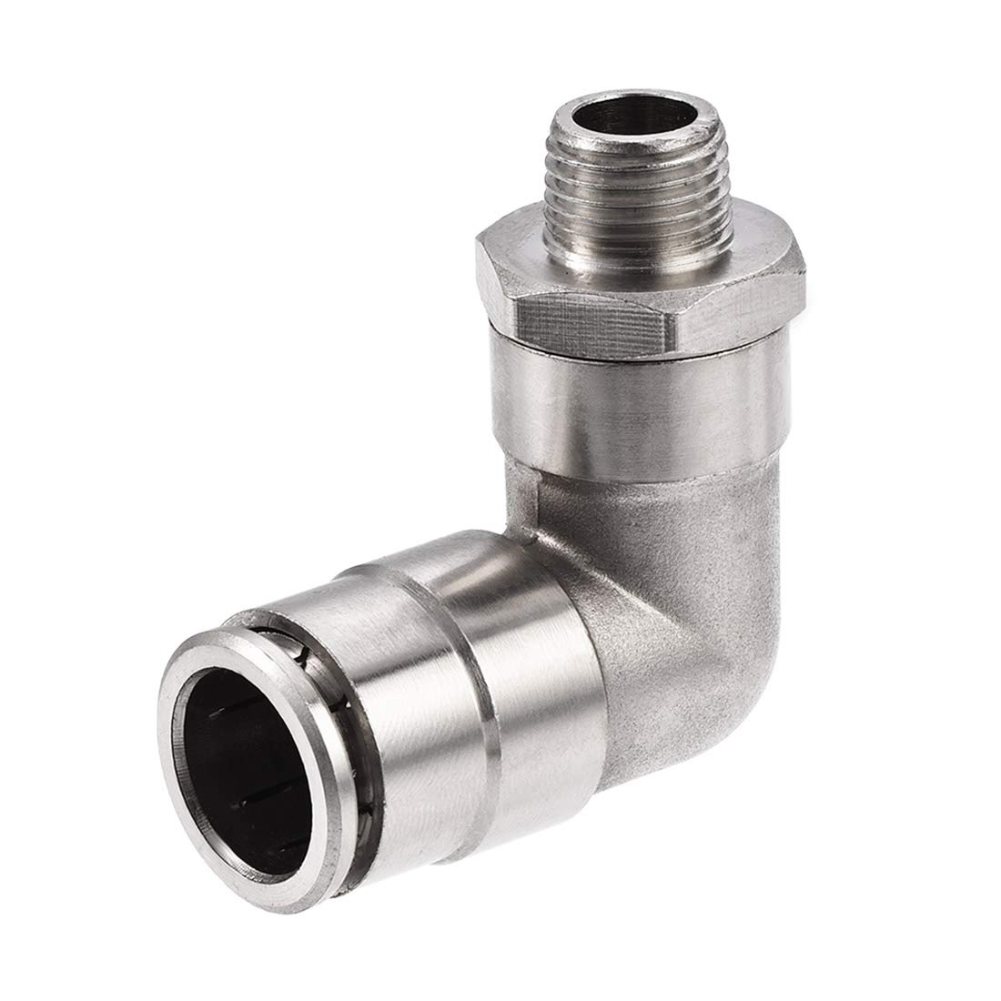 uxcell Push to Connect Tube Fitting 14mm Tube to 1/4PT Male Elbow L Shape