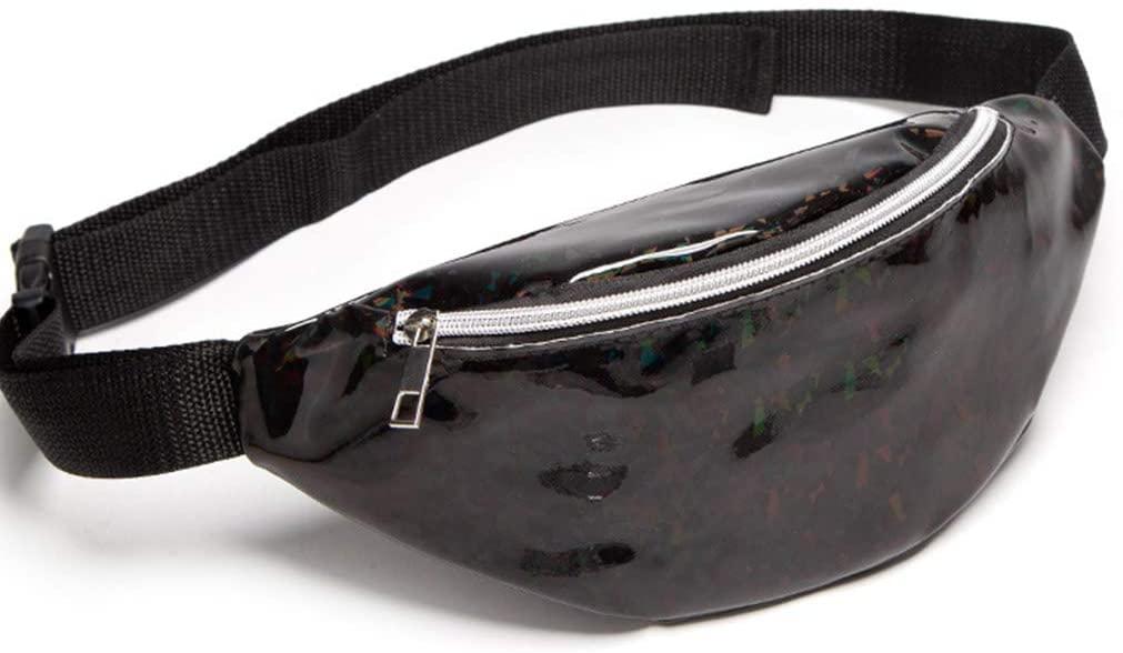 QINREN Fashion Women Waist Fanny Pack Belt Pouch Travel Purse Hip Bum Shoulder Bag,Black,Pu