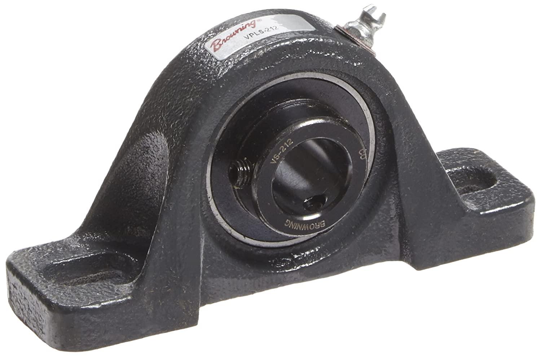 Browning VPLS-212 Pillow Block Ball Bearing, 2 Bolt, Setscrew Lock, Contact and Flinger Seal, Cast Iron, Inch, 3/4