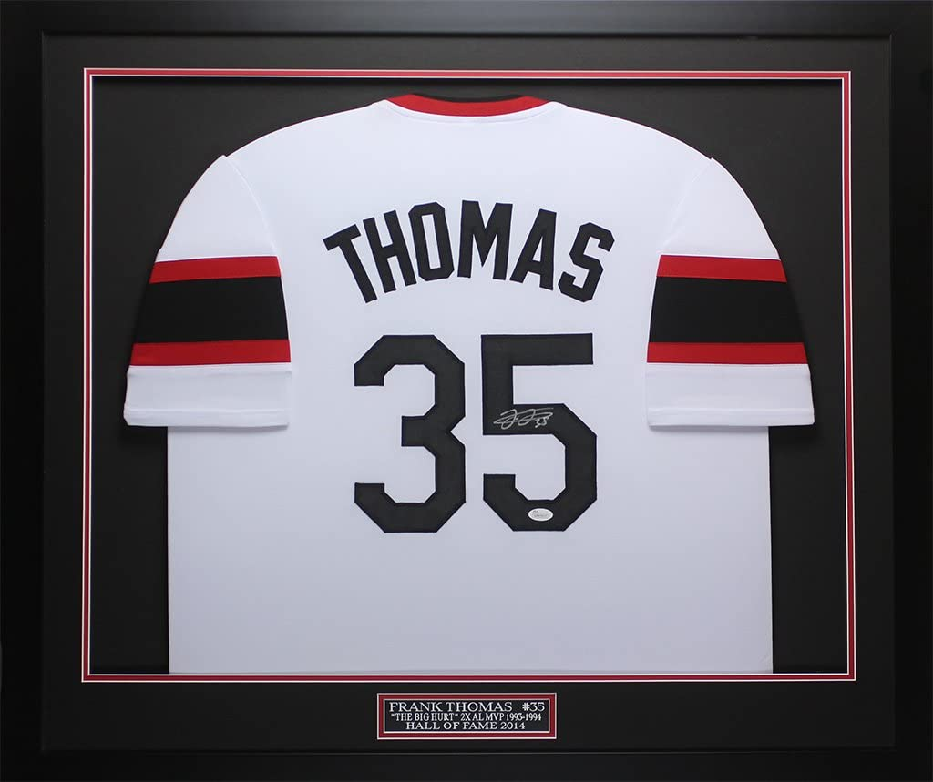 Frank Thomas Autographed White White Sox Jersey - Beautifully Matted and Framed - Hand Signed By Frank Thomas and Certified Authentic by Auto JSA COA - Includes Certificate of Authenticity