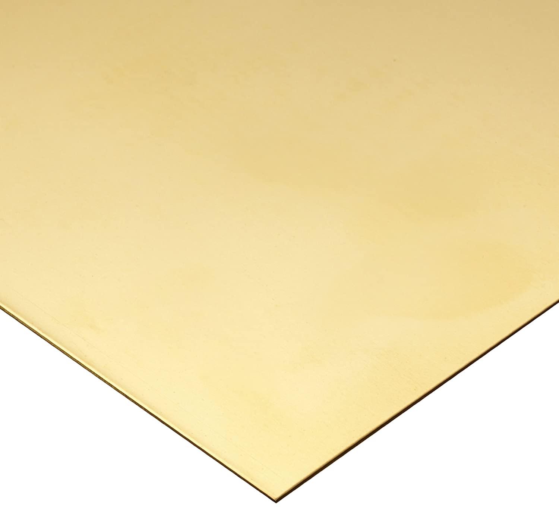 260 Brass Sheet, Unpolished (Mill) Finish, H02 Temper, ASTM B36, 0.02
