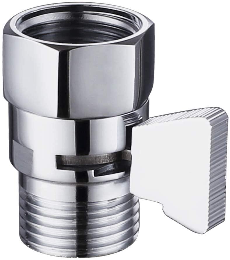 Shower Flow Control Valve, Suyar Brass Handheld Shower Shut Off Valve, Water Volume Adjust Device, Water Pressure Regulator, Shower Flow Restrictor Chrome
