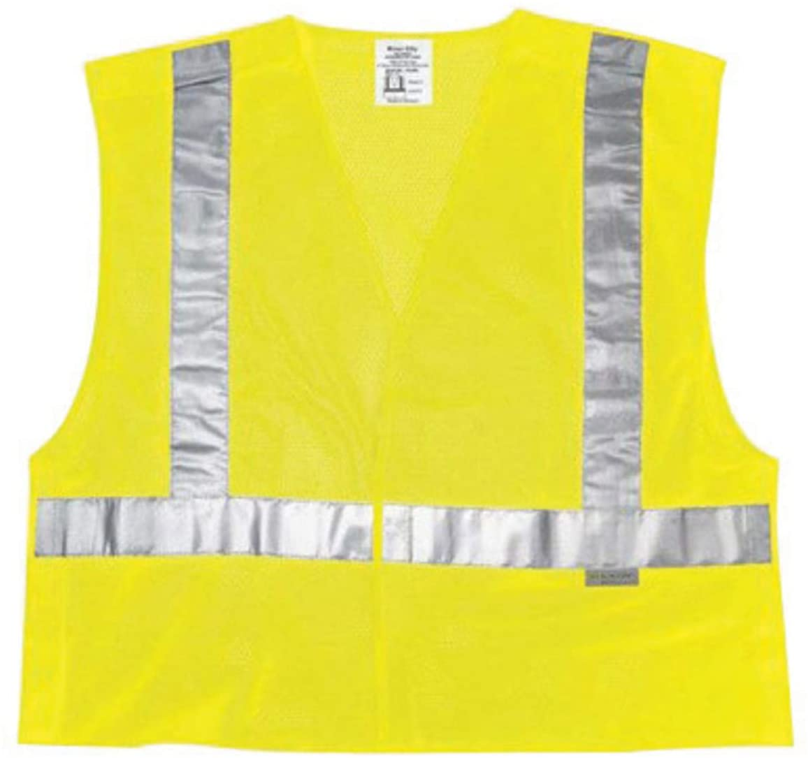 River City Garments Large Hi-Viz Lime Solid Polyester Mesh Class 2 Tear Away Vest With Front Hook And Loop Closure And 3M Scotchlite 2