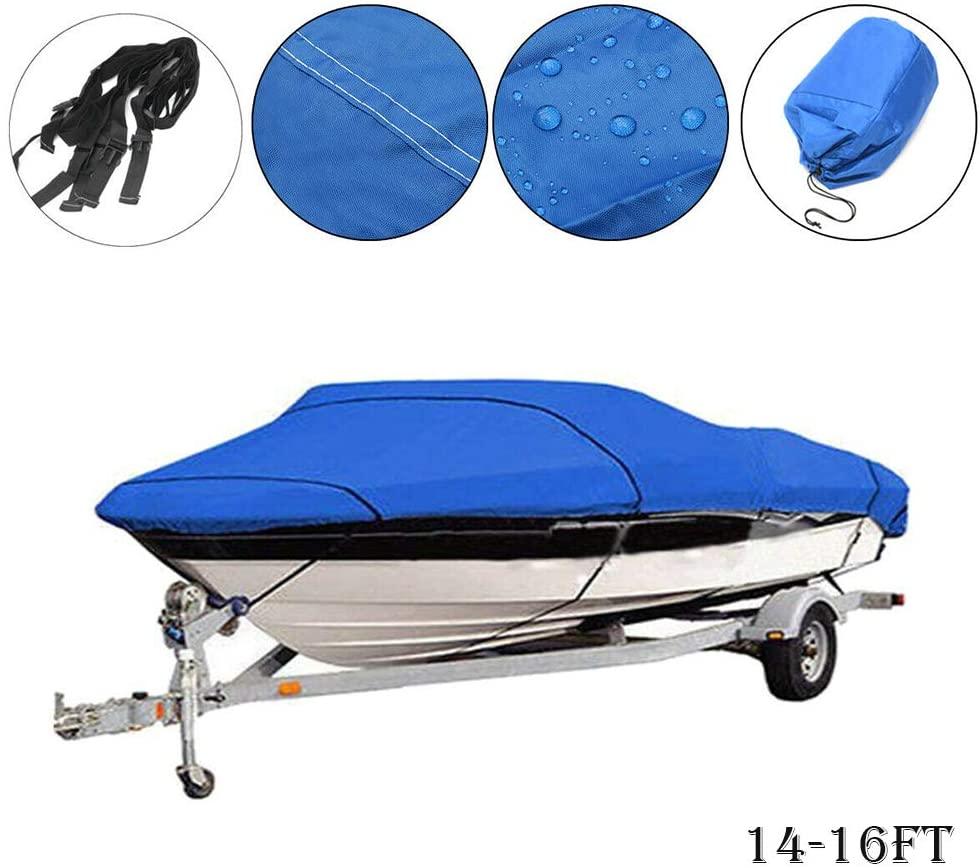 MASO Boat Cover 14-16ft Heavy Duty 210D Waterproof Speedboat Cover Bag