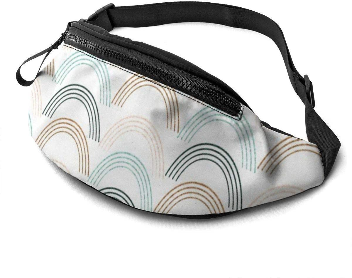 321DESIGN Rainbow Neutral Colors Daily Portable Casual Belt Bag Chest Bag Running Belt Waist Pouch Gym Lightweight Waist Pack for Men & Women