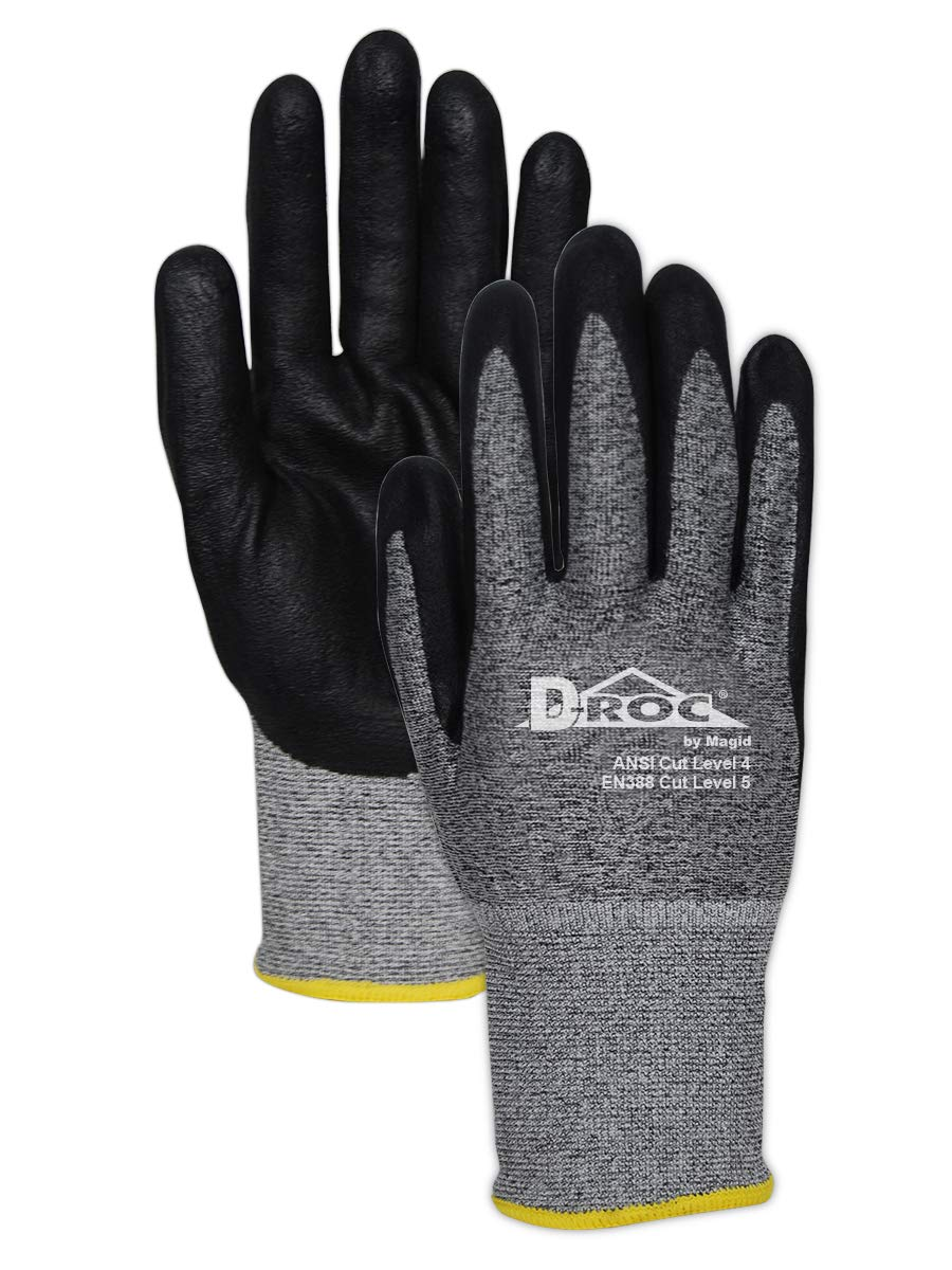 Magid Glove & Safety GPD586-7 Magid D-ROC 18-Gauge HPPE Blend Foam Nitrile Palm Coated Work Glove Cut Level 48 Salt & Pepper Black 12 (Pack of 12)