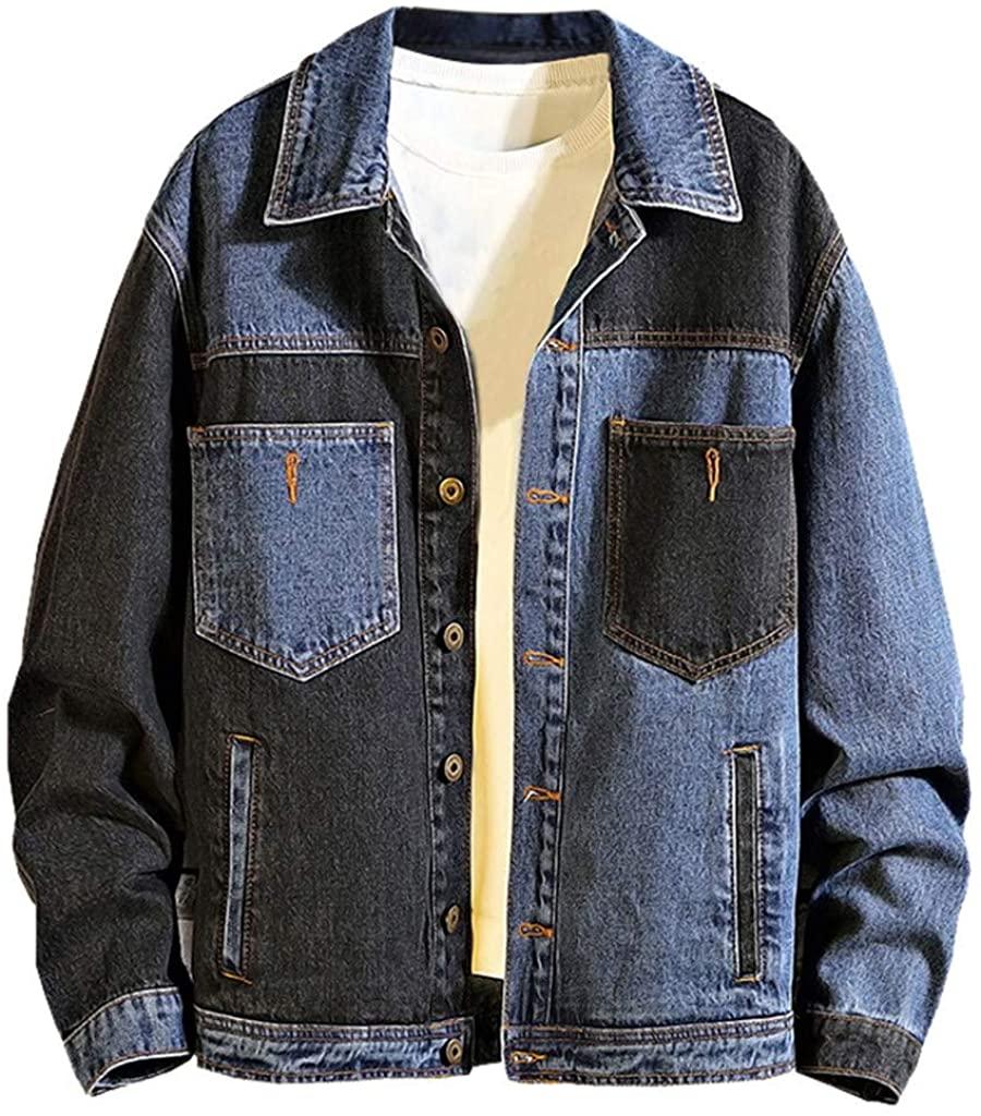 MODOQO Men's Denim Jacket Long Sleeve Casual Button Down Collar Jeans Coat for Autumn Winter