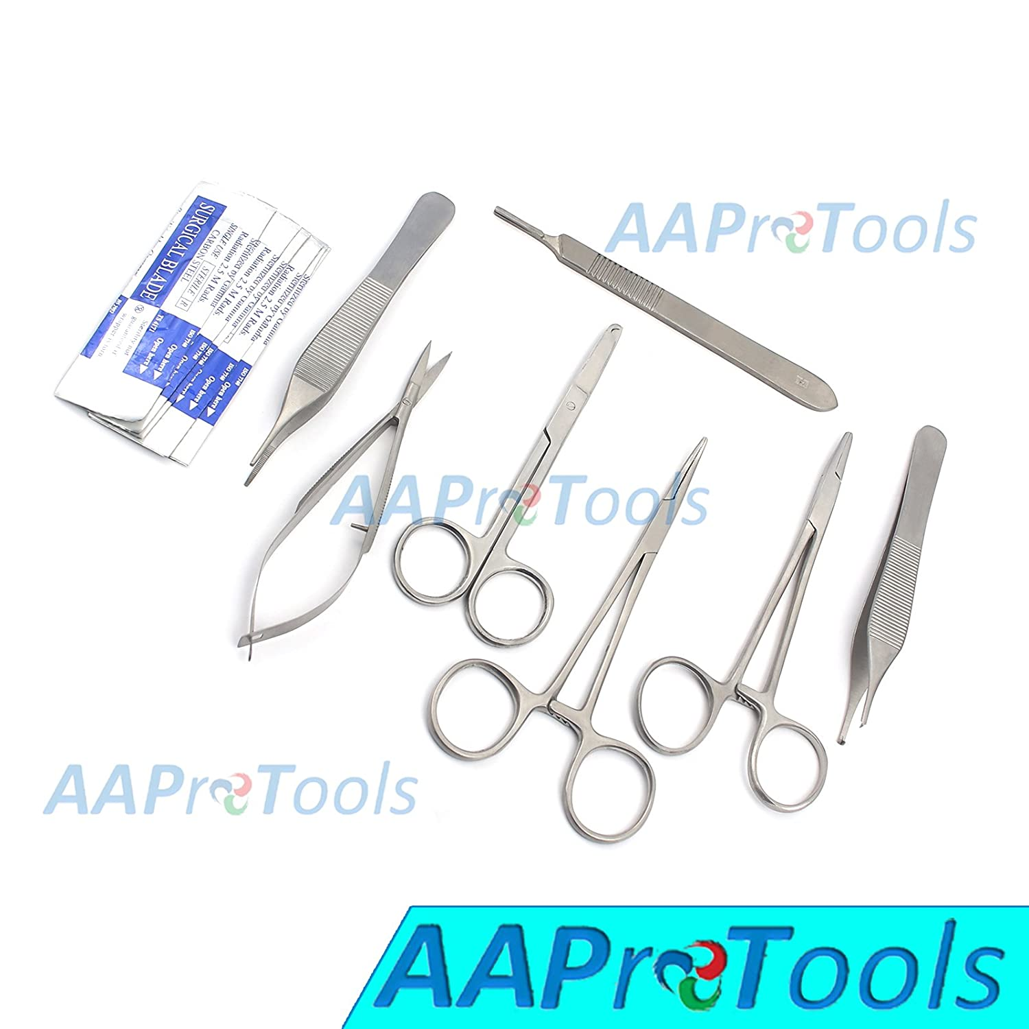 AAPROTOOLS 12 PCS Premium Grade Basic Comprehensive Laceration Removal Forceps HEMOSTATS CASTROVIEJO Scissors Instruments Set with STERILE Scalpel Blades #10 A+ Quality