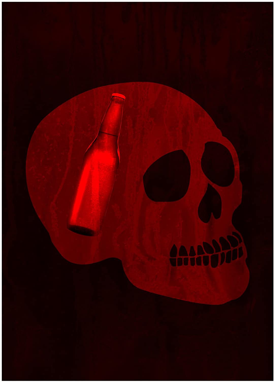Red Skull Face with Bottle in Head Picture Fun Drinking Humor Bar Sign Aluminum Metal