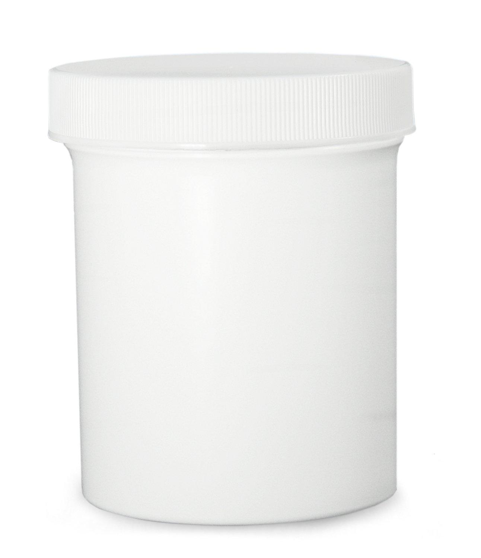 Qorpak PLC-07189 Polypropylene Jar with 120-400 SturdeeSeal Polyethylene Foam Linerless Cap, White, 32oz Capacity, 119mm OD x 96mm Height (Case of 24)