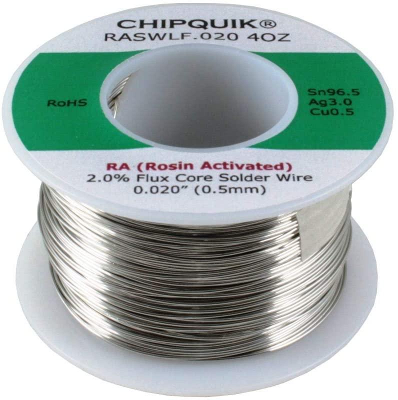 LF Solder Wire 96.5/3/0.5 Tin/Silver/Copper Rosin Activated .020 4oz