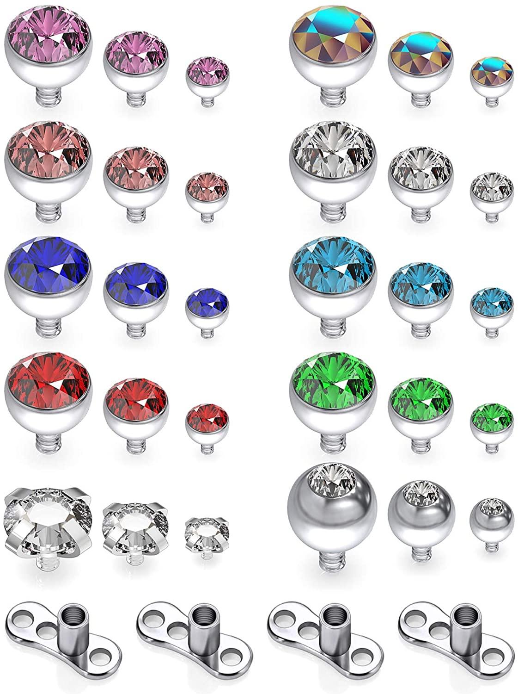 Yaalozei 14G Dermal Piercing Jewelry Anchor Tops and Base Titanium Microdermals Piercing for Women Men Opal CZ Ball 2mm 3mm 4mm 34PCS