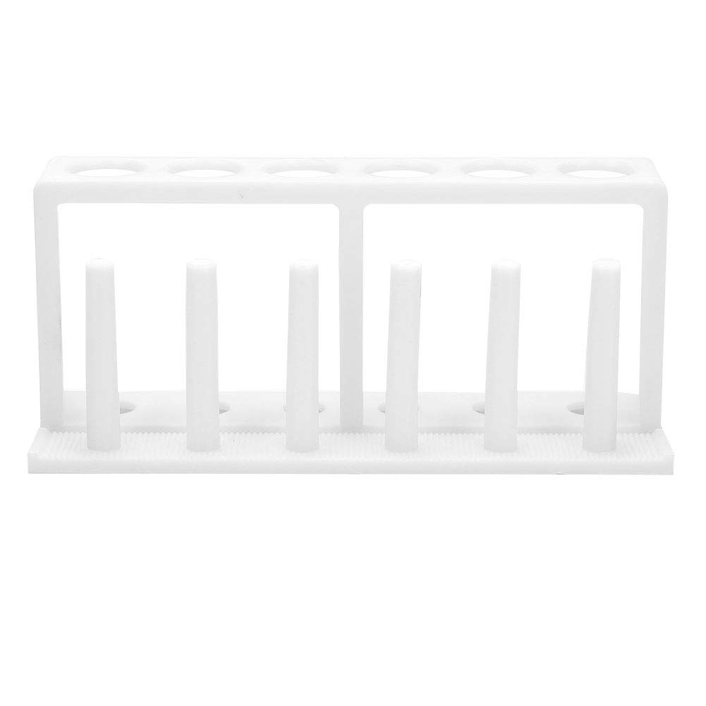 DERCLIVE 6 Hole 6 Column Plastic White Test Tube Holder Lab Supplies Suitable for Put in The Laboratory