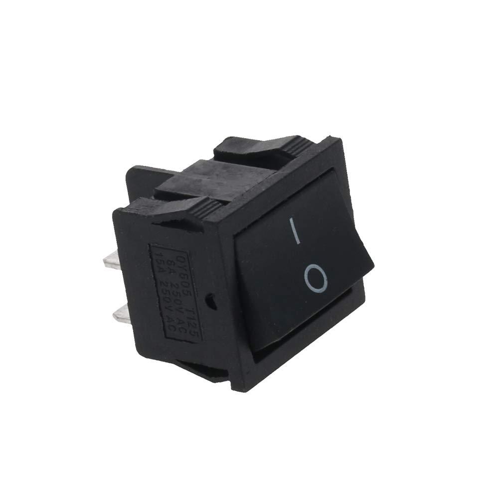 Fielect KCD2 Solder Type Electrical Rocker Switch Mini Boat Shape Rocker Switch AC 250V/6A 125V/10A 2 Gear 4 Pin ON-Off Black 2Pcs