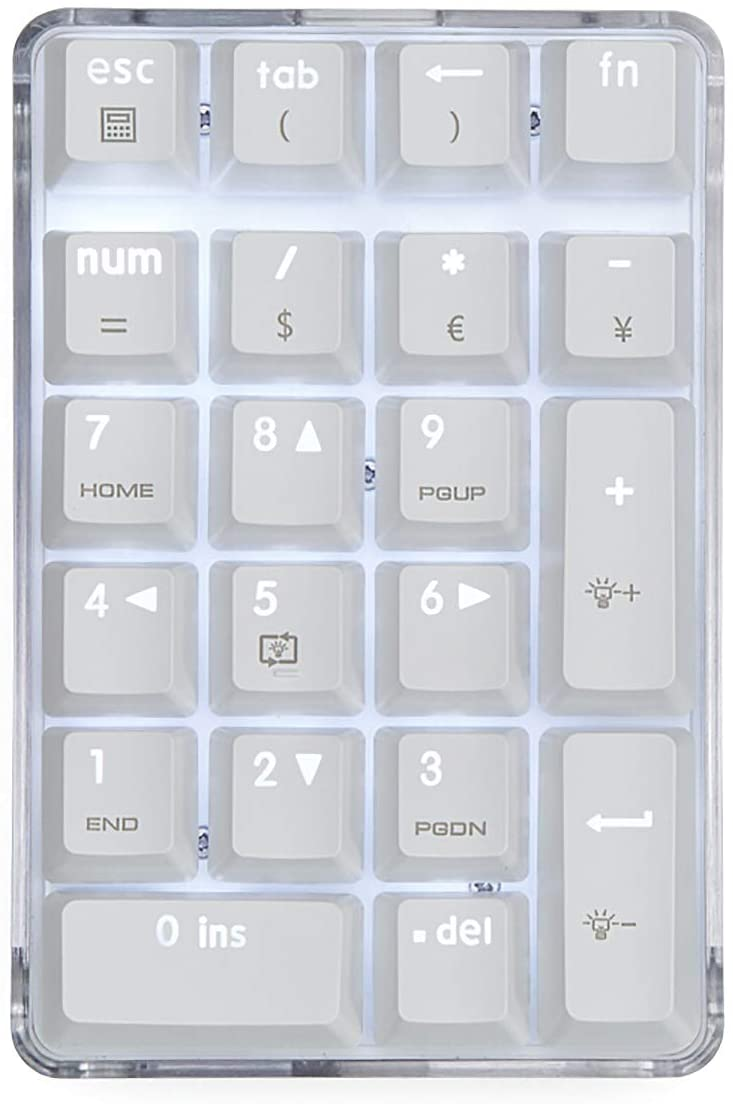 Mechanical Numeric Keypad GATERON Blue Switch Wired Gaming Keypad Crystal Case White Backlit 21 Keys Mini Numpad Portable Keypad Extended Layout White Magicforce by Qisan