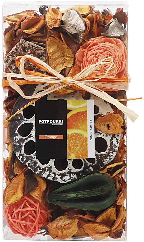 Qingbei Rina Gifts,Orange Potpourri Bag,Including Lotus pod,Flower,Petal,Pinone,Rattan Ball,Sepa Takraw,Perfume Satchet in Plastic Bags.Home Decoration.7oz. (Orange)