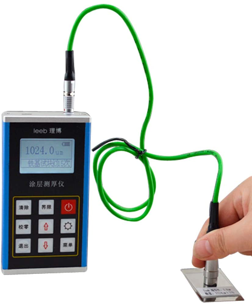 Tongbao Leeb232 Digital Coating Thickness Tester with Metal Shell Coating Thickness Gauge Magnetic Induction and Eddy Current Principle Equip with 2 Probes