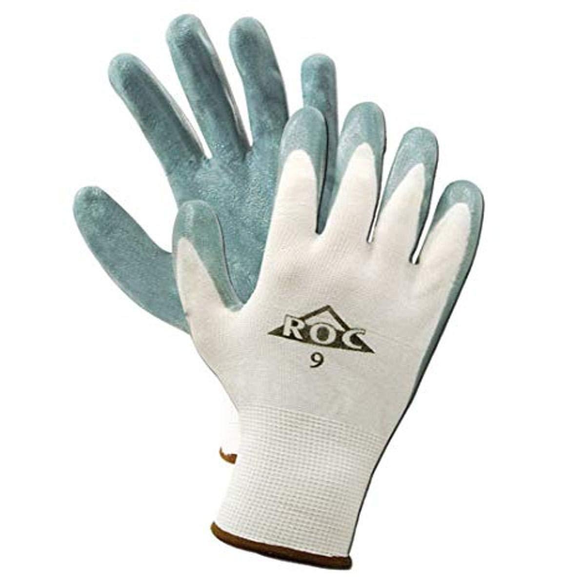 MAGID ROC GP560 Nylon Glove, Gray Foam Nitrile Palm Coating, Knit Wrist Cuff, 9