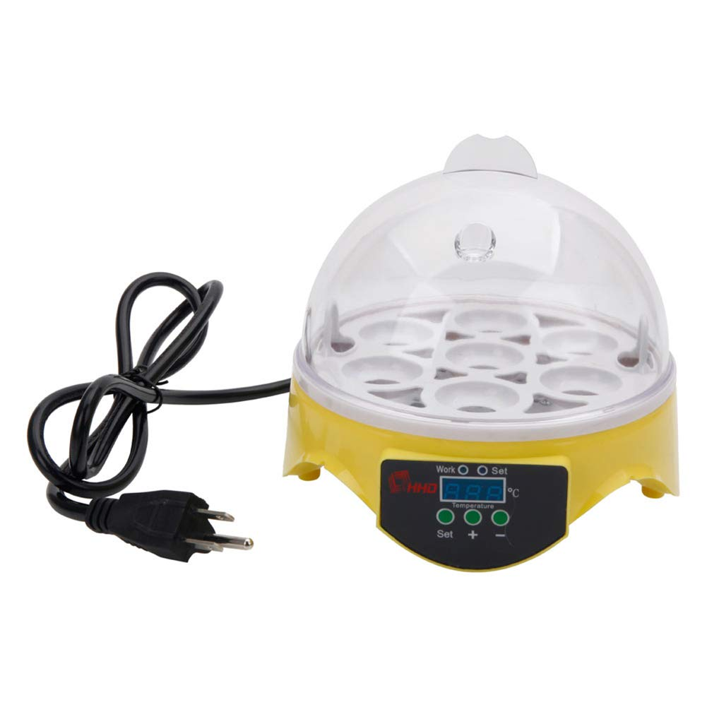7-Egg Digital Clear Egg Incubator Automatic Egg Turning Temperature Control Mini Practical Poultry Electric Incubator (US Standard) Yellow