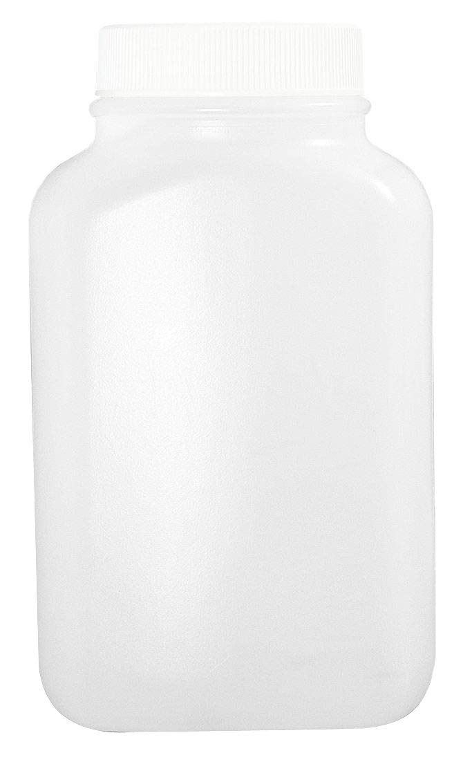 Qorpak PLC-06620 HDPE Oblong Bottle with 43-400 White Polypropylene SturdeeSeal Polyethylene Foam Lined Cap, Vacuum and Ionized, 17 oz, Natural (Pack of 160)