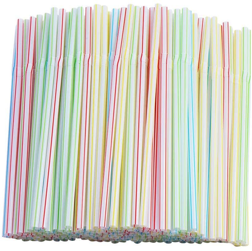 200 Pcs Flexible Straws,Disposable Plastic Stripes Multiple Colors Straws.(0.23'' diameter and 7.8
