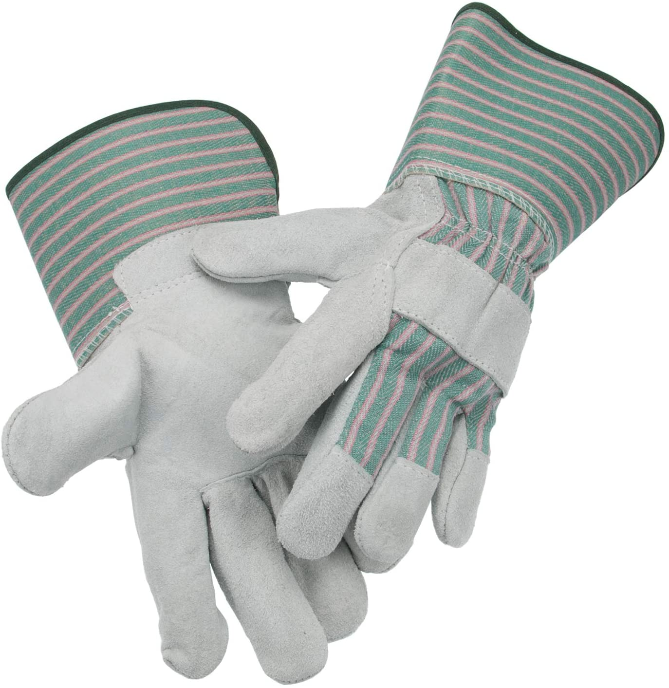 Laproter AB Grade, Premium Suede Leather Work Gloves with Extra Long Rubberized SAFETY Cuff, Size L, 13cm Palm Width, 1 Pair