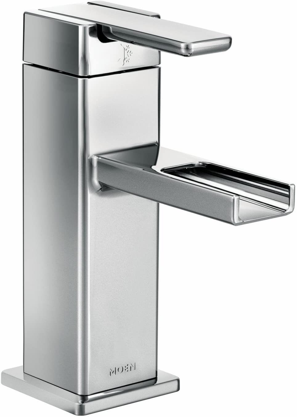Moen S6705 90-Degree One-Handle Modern Open Waterway Bathroom Faucet with Drain Assembly, Chrome