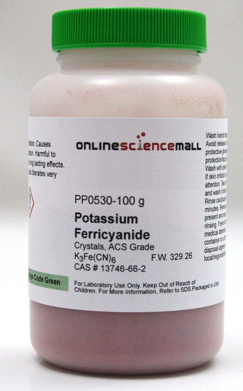 100g of Potassium Ferricyanide Crystals - ACS Grade Reagent