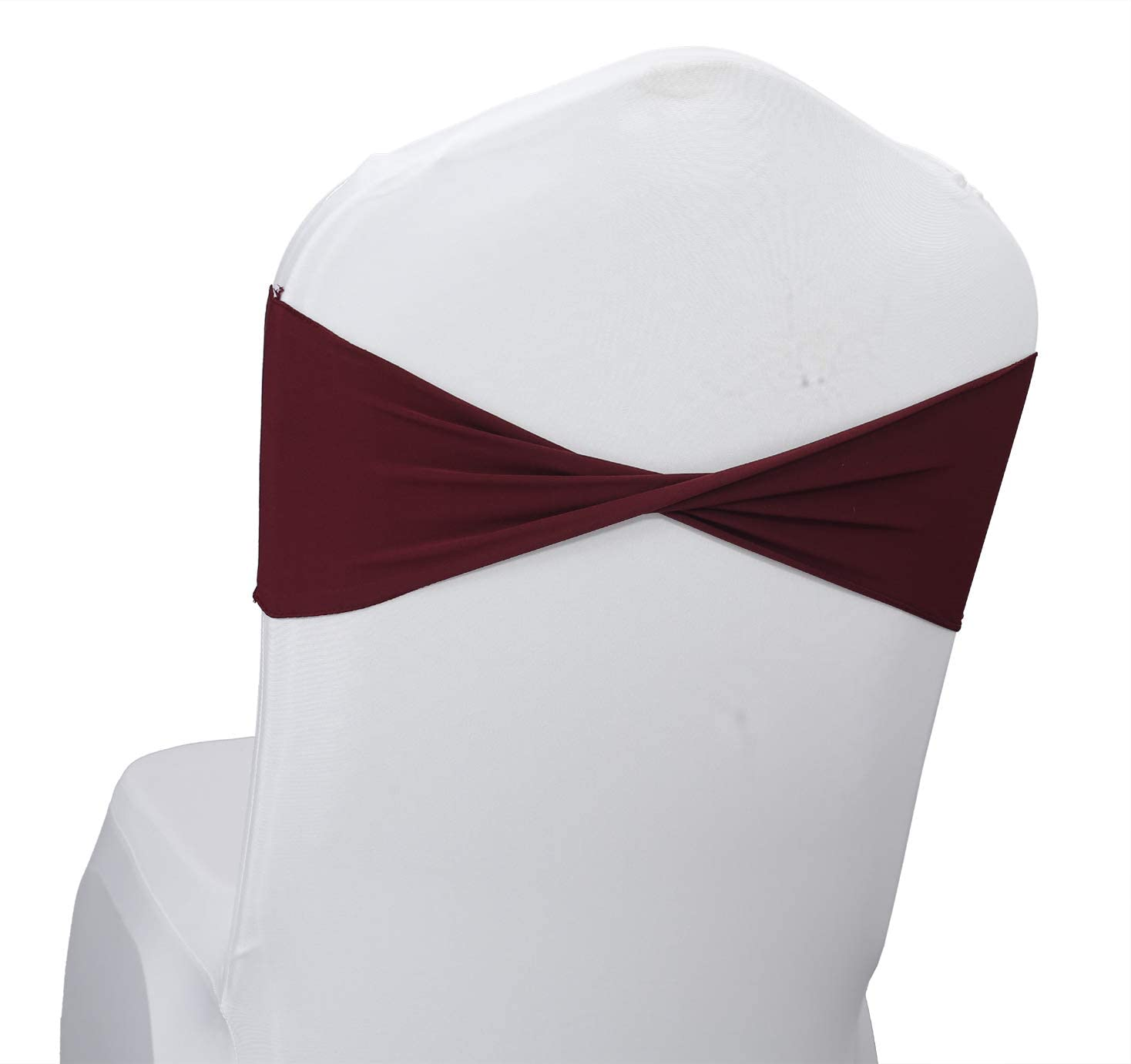 mds Pack of 200 PCS Spandex Wedding Chair Bands Sashes Bow Tie for Wedding Decorations - Burgundy