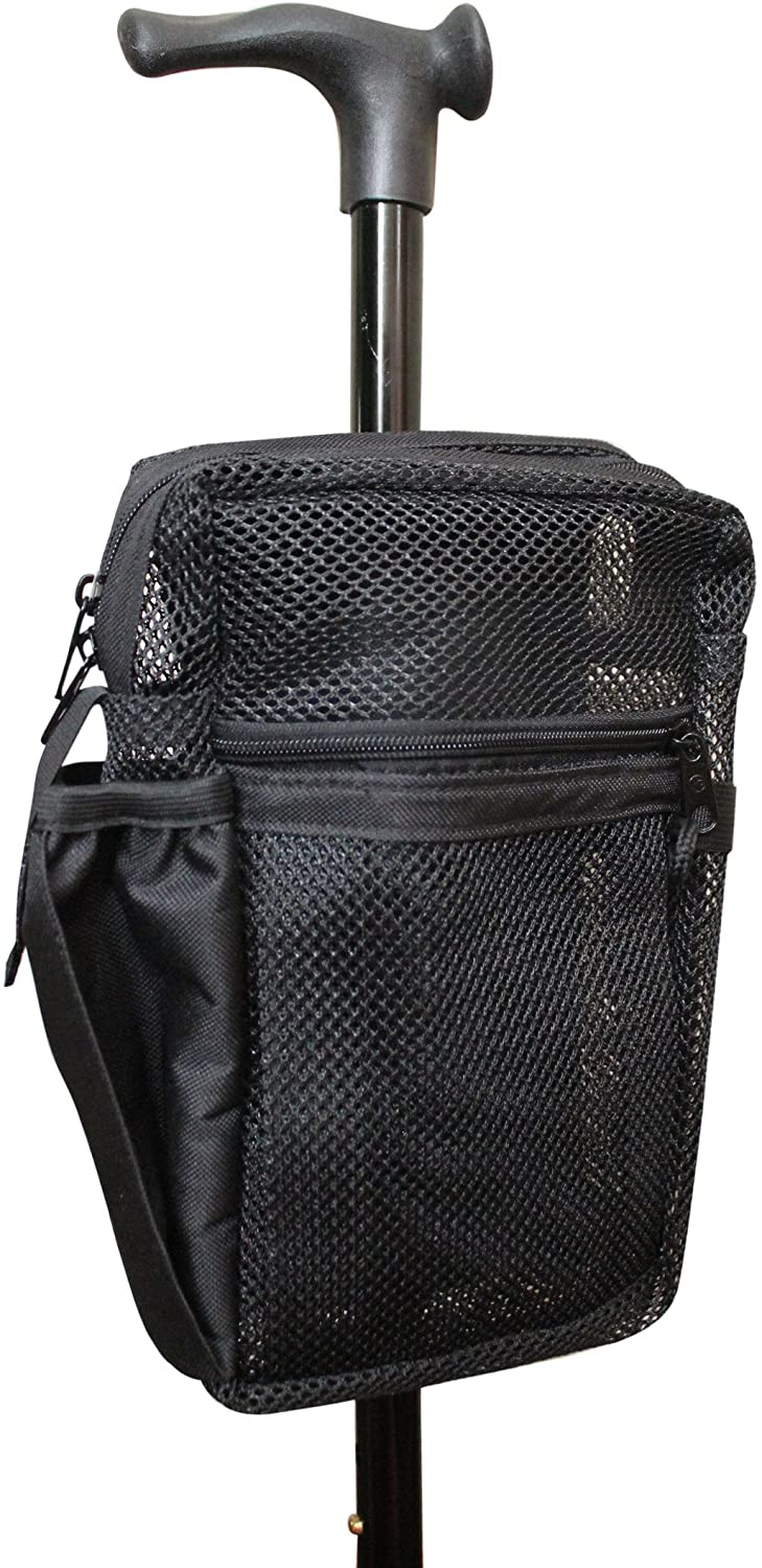 Cane Buddy - Secure Pouch, Accessory Bag for Cane, Walker, Crutches and Wheel Chairs (Black)