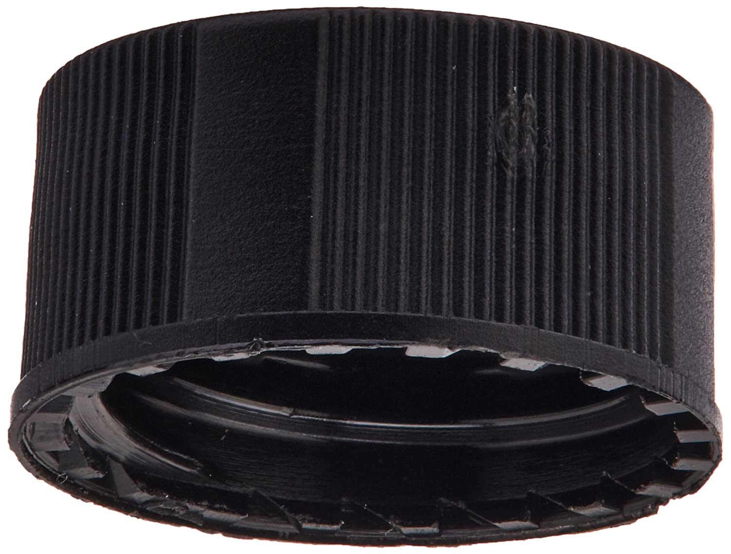 JG Finneran R.A.M. 5320-09 Black Polypropylene Screw Threaded Solid Top Cap for Large Opening Vials, Unlined, 9mm Cap Size (Case of 1000)