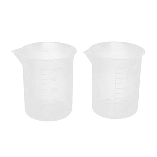 100mL Graduated Beaker Clear Plastic Measuring Cup for Lab 2 Pcs Glass Bottle