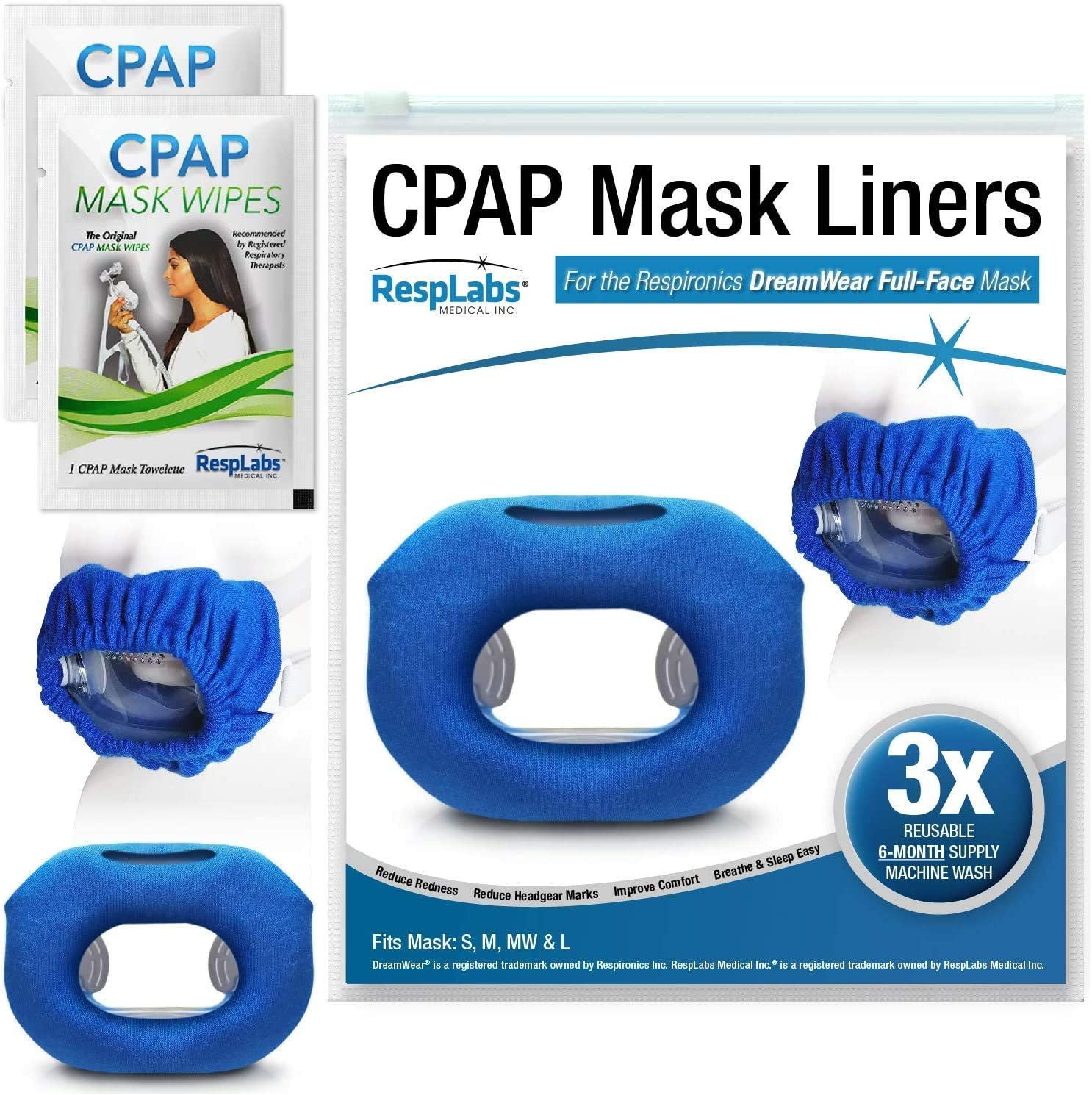 RespLabs CPAP Mask Liners - Fits The DreamWear Full Face CPAP Mask [3 Pack]
