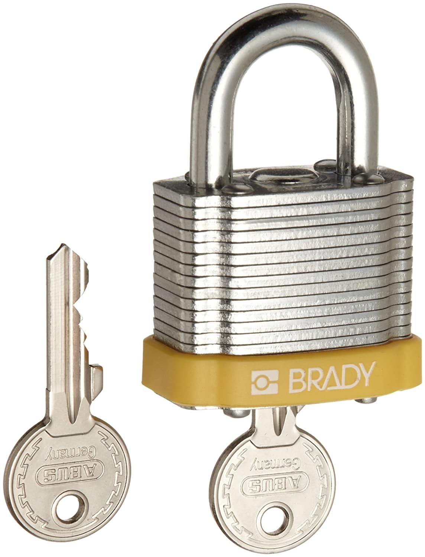 Brady Steel Lockout/Tagout Padlock, Keyed Different, 1-1/3