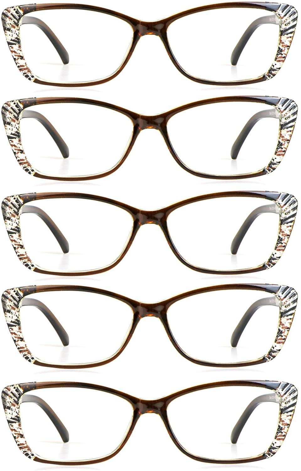 5 Pairs Reading Glasses, Blue Light Blocking Glasses, Computer Reading Glasses for Women Men, Fashion Eyewear Frame (5 Brown, 1.00 Magnification)