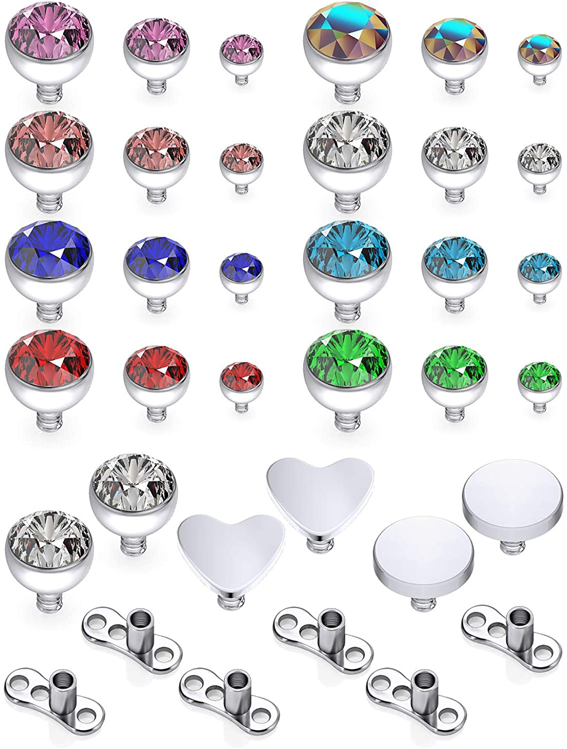 Prjndjw 14G Clear CZ Dermal Anchor Tops and Base Titanium Microdermals Piercing Body Piercing Jewelry for Women Men 2mm 3mm 4mm 36Pcs 19Pcs Dermal Anchor Piercing Jewelry