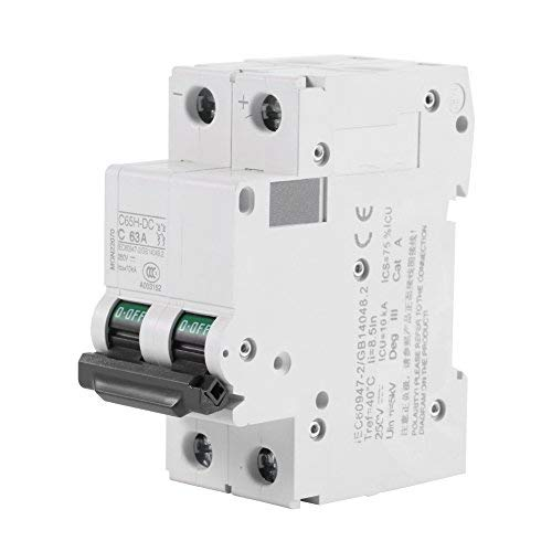 63A Low-Voltage Miniature Air Circuit Breaker,Acogedor 250V DC 2P DIN Rail Mount Miniature Circuit Breaker for Solar Panels Grid System, Wind and Solar Hybrid System and Other DC Systems