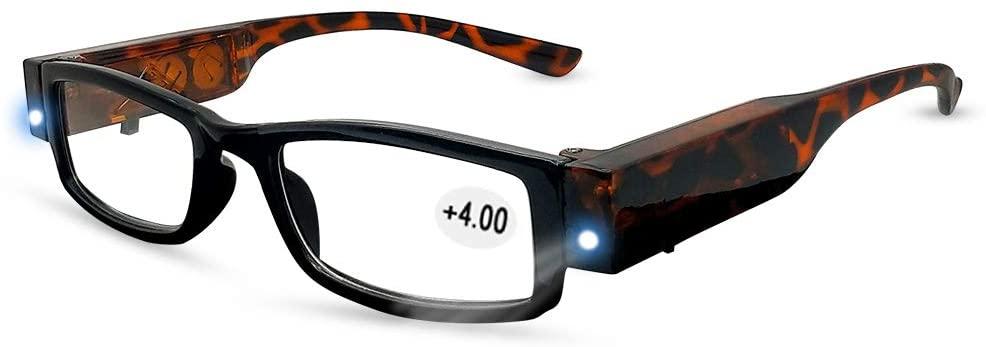 Reading Glasses with Light Magnifier Eyeglasses for Men and Women Bright LED Readers Full Frame Eyewear Unisex Clear Vision Lighted Eye Glasses (+4.0)