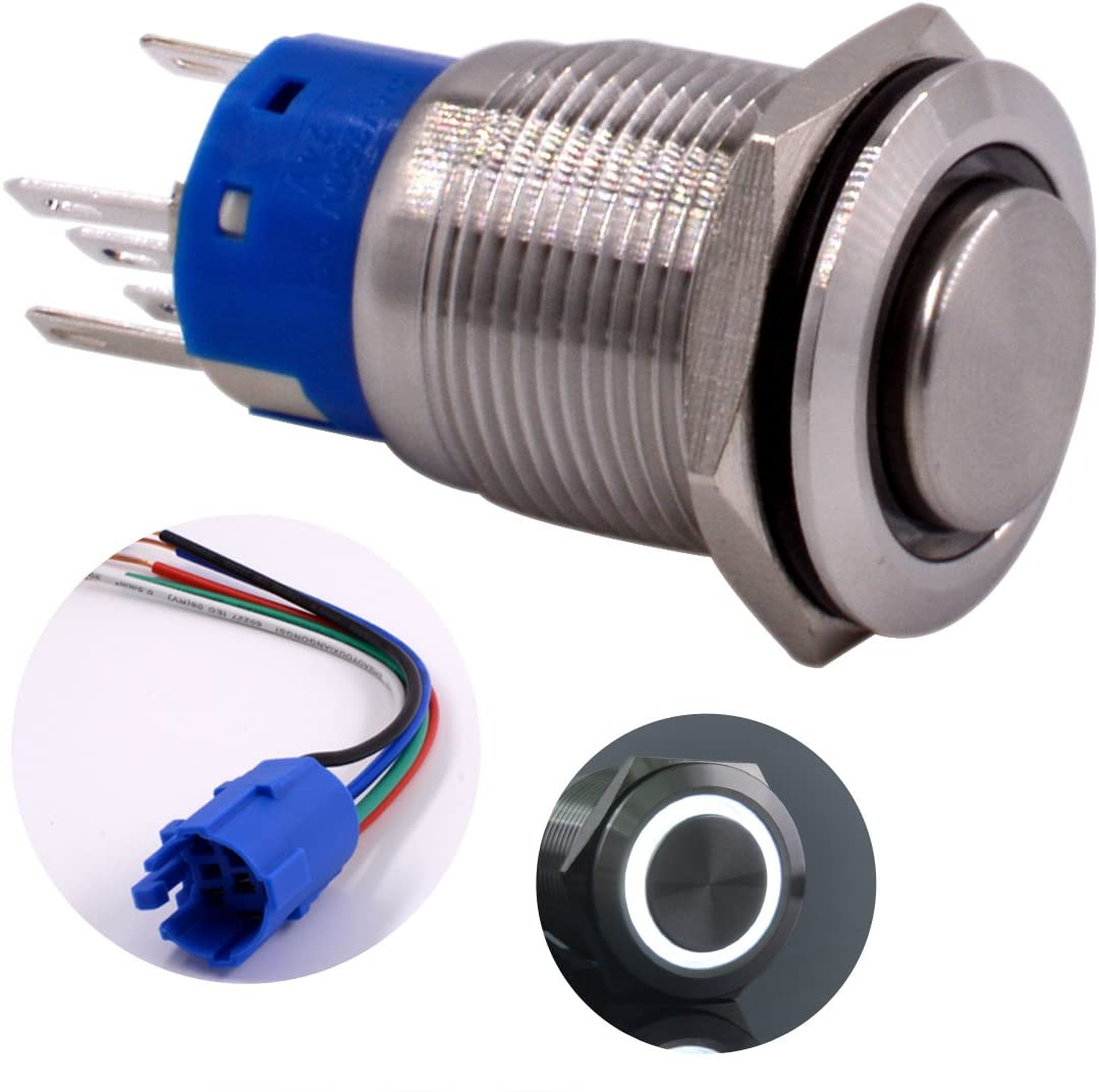Momentary Push Button Switch, URTONE UR198, 1NO1NC Stainless Steel Shell with 24V White LED Ring Suitable for 19mm 3/4