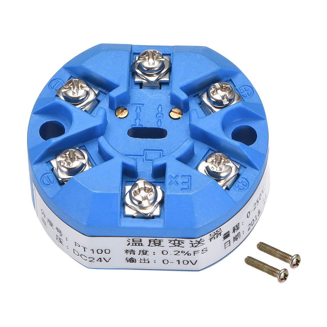 uxcell PT100 Temperature Sensor Transmitter 24V DC 0-10V 0℃ to 250℃