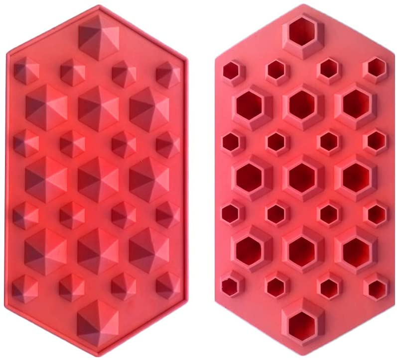 MOTZU 2 Pieces Diamond Flexible Silicone Ice Cube Mold Tray, Easy Release Silicone Ice Mold, for Whiskey,Cocktails and Juice Beverages